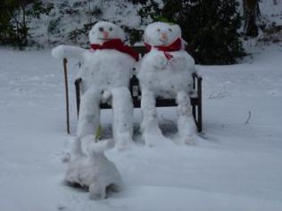 Snow men at Hill Top Farm, Whittle-le-Woods