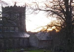 Sun down over St Mary's Church and beech tree., Castle Hill