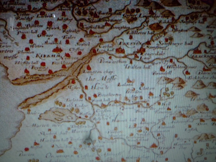 Saxton Map of Lancashire 1577
