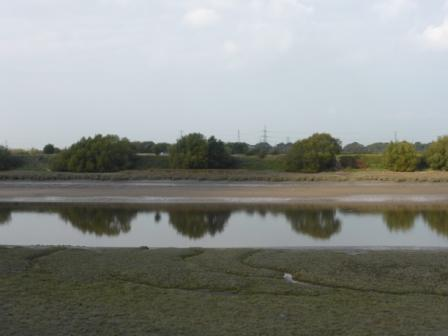 Natural Coastline of the river Ribble with Lea Marsh in the background