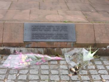 Flowers at Preston Martyrs' Memorial