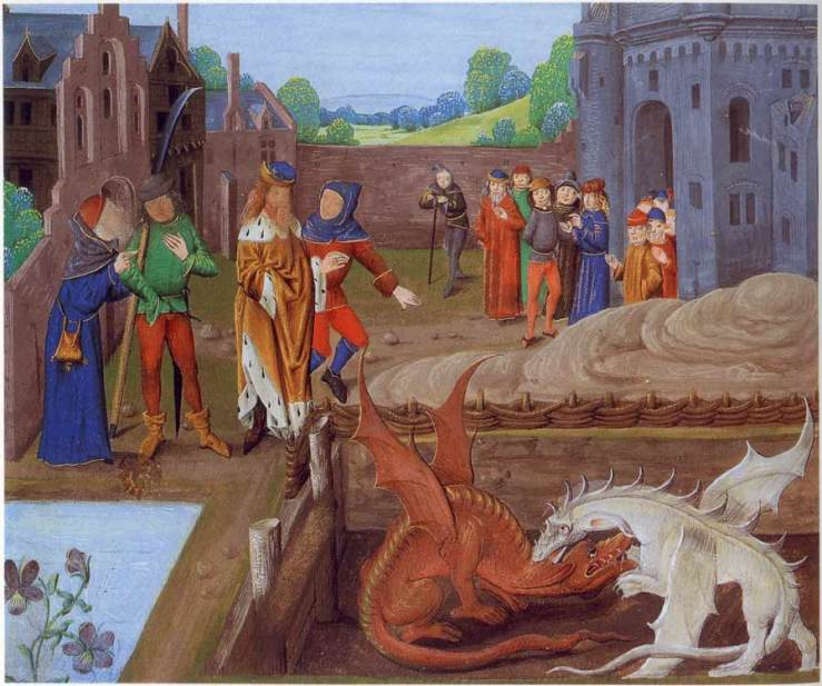 Red and white dragons - from 15th C History of the Kings of Britain - Wikipedia Commons