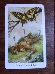 Rest- Four of Bows - Wildwood Tarot