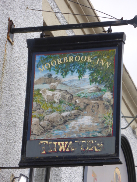 Painting of the Moor Brook on Moor Brook Pub Sign sm