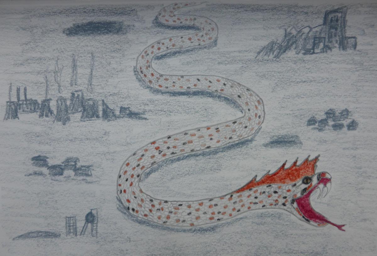 A Speckled Crested Snake Large