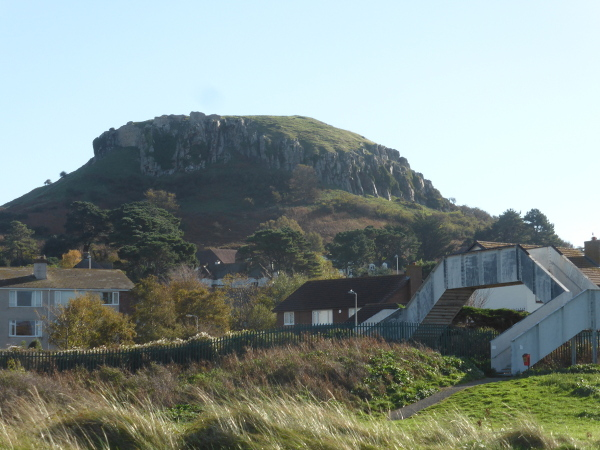 Deganwy Castle Site big hill from beach Med