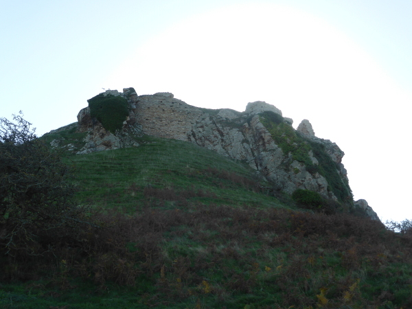 Deganwy Castle Site big hill with wall Med