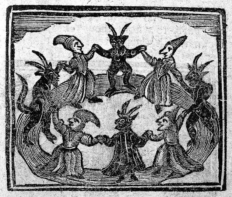 Witches dancing with devils from the History of Wizards and Witches 1720